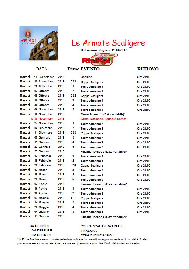 Calendario Verona.Verona Stagione 2018 2019 Inizio 11 Settembre 2018